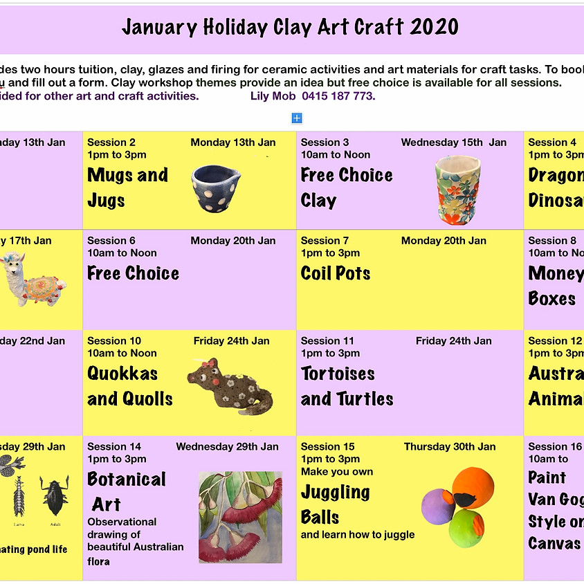 January Holiday Workshops