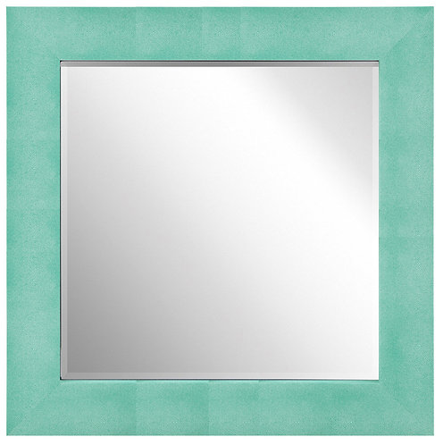 Teal Metallic Shagreen Leather Framed Mirror 48x48- ELM-3030-01TL