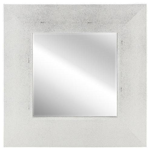 Silver on White Shagreen Leather Framed Mirror 30x30- ELM-3030-01SW