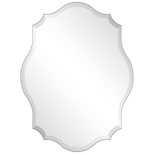 Frameless Beveled Oblong Scalloped Wall Mirror: FLM-10084-3040