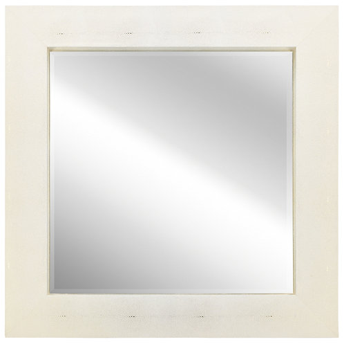 Gold on White Shagreen Leather Framed Mirror 48x48- ELM-4848-01GW