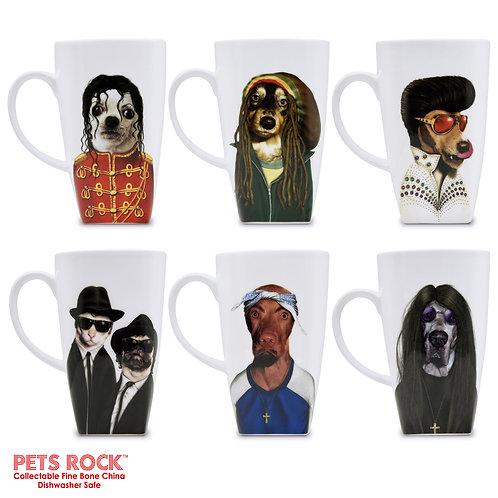"Pets Rock™ ""Icons"" Collectible Fine Bone China Mugs - set of 6"