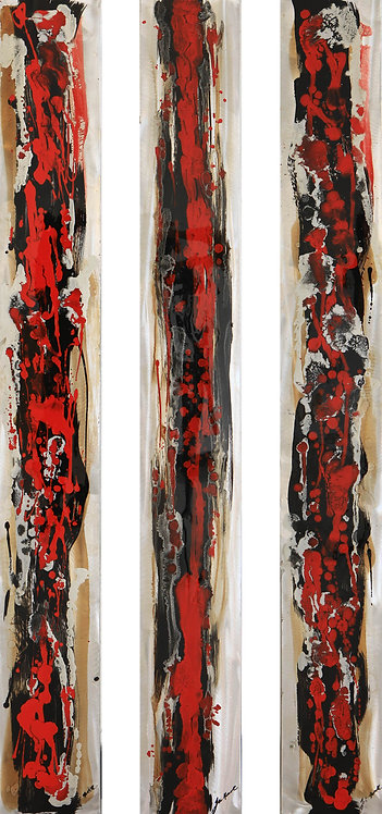 Red Abstraction 1 Triptych by Lee Huart
