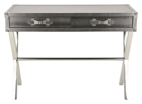 Silver Lizard Leather Console: EXL-1004-02SLV-SS