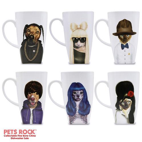 """Pets Rock™ """"Music"""" Collectible Fine Bone China Mugs - set of 6"""