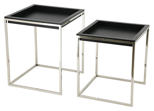 Black Ostrich Leather Nesting Tables: EXL-1011-04BLK-SS