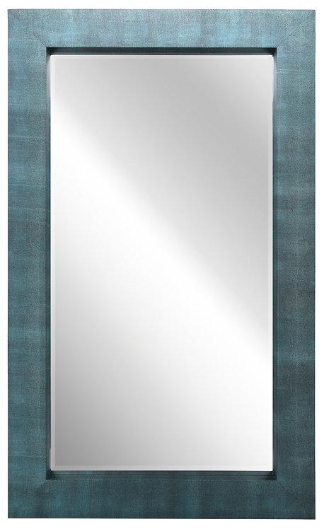 Black on Blue Shagreen Leather Framed Mirror 80x48- ELM-8048-01BBL