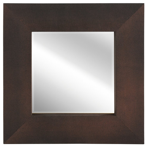 Bronze on Black Shagreen Leather Framed Mirror 30x30- ELM-3030-01GB
