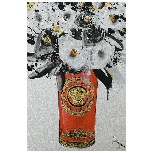 Red Vase of Gold Glitter - EGLS-JP092