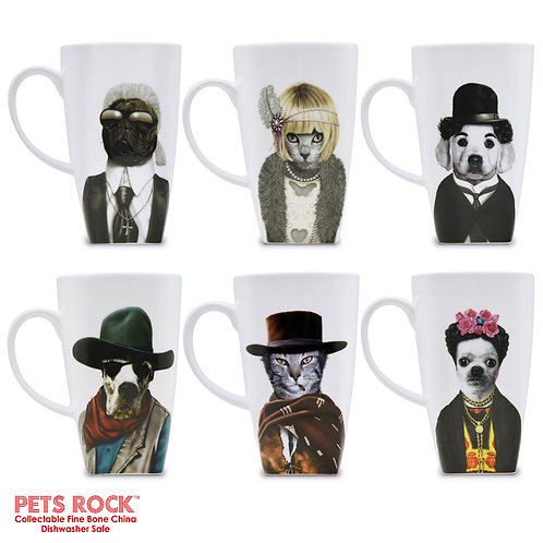 "Pets Rock™ ""Western"" Collectible Fine Bone China Mugs - set of 6"