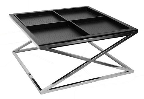 Black Ostrich Leather Cocktail Table: EXL-1001-04BLK-SS