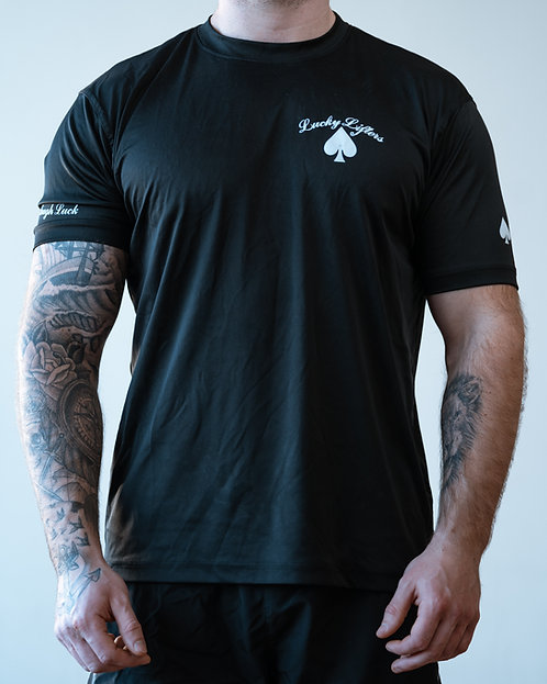 Black w/ White logo Lucky Lifters Short Sleeve