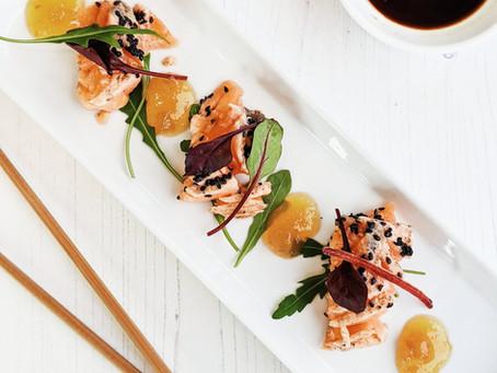 Black Sesame Salmon Tataki with Apple Coulis