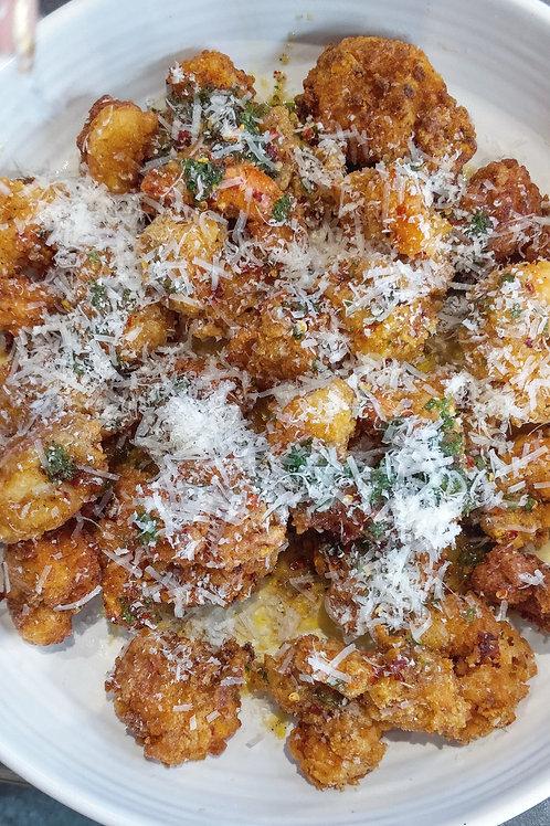Free-From Crispy, Honey Butter,  Garlic, Parmesan Spicy Prawns