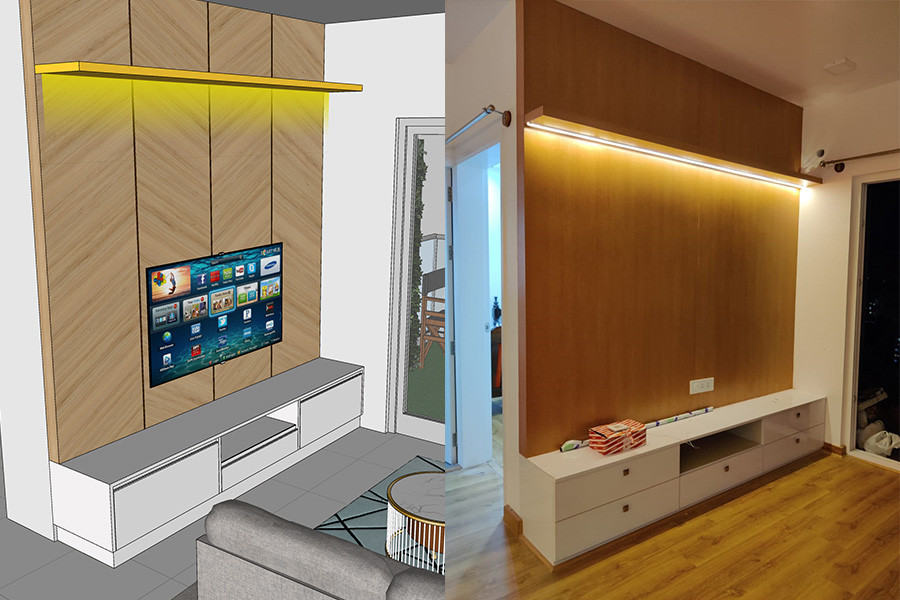 Tv unit design to execution compare by mayatar