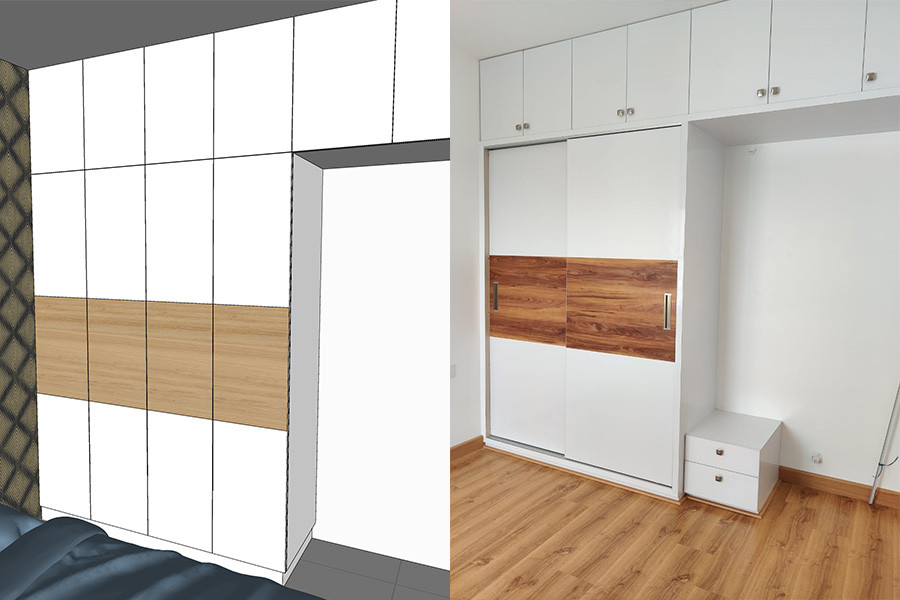 Guest bedroom wardrobe design to execution compare
