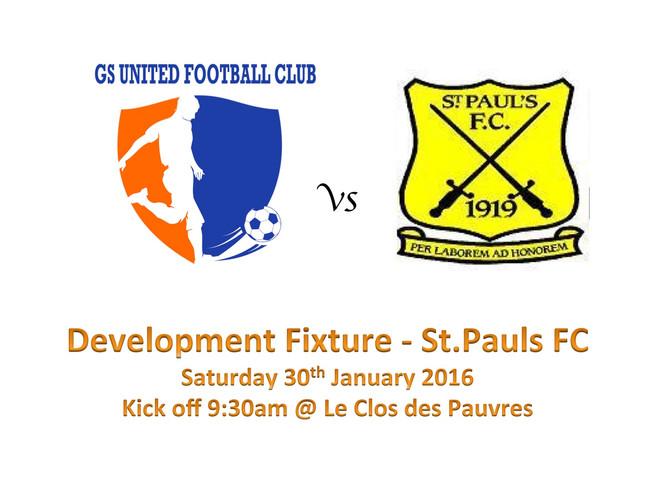 Development Fixture Vs St Pauls FC Minis