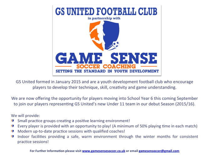 GS United to enter newly formed Under 11 Team in Jersey Football Combination