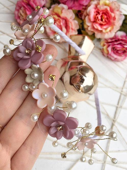 Tiara de flores luxo