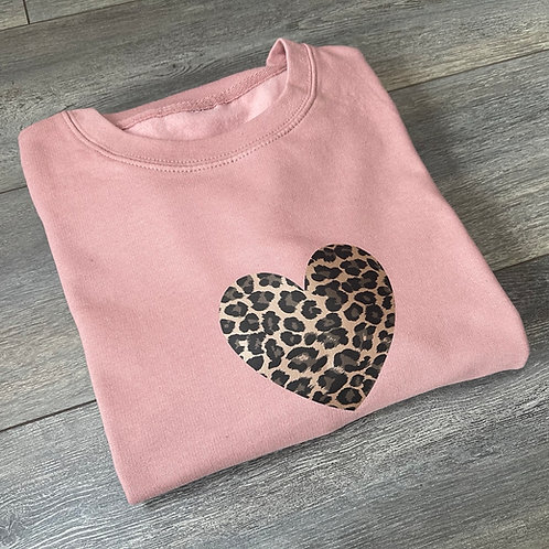 Leopard Heart Sweatshirt/Hoodie