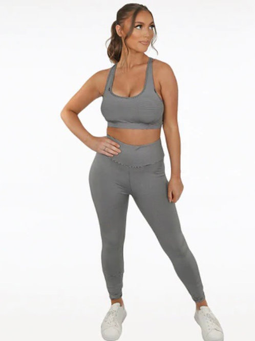 STRIPE PRINT ROUND NECK TOP & RUCHED BACK ACTIVE LEGGINGS