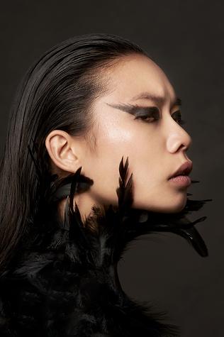 shooting photo fine art inspiré par les tableaux de maîtres clair-obscur,  femme cygne noir portrait