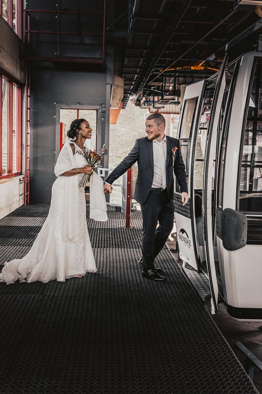 Nendaz tracouet telecabine mariage couple heureux sourire repas amour