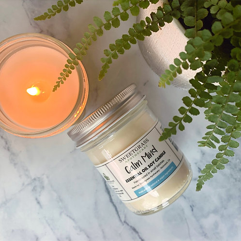 Calm Mind ~ Sandalwood and Vanilla Essential Oil Soy Candle