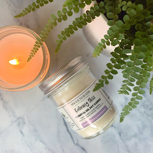 Calming Bliss ~ Chamomile and Lavender Essential Oil Soy Candle