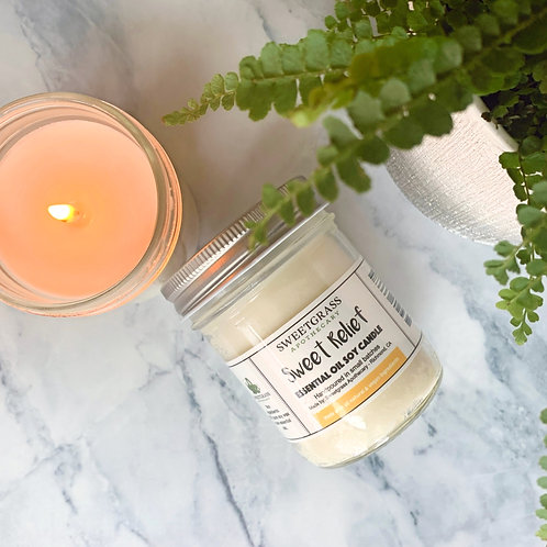 Sweet Relief ~ Sandalwood and Vanilla Essential Oil Soy Candle