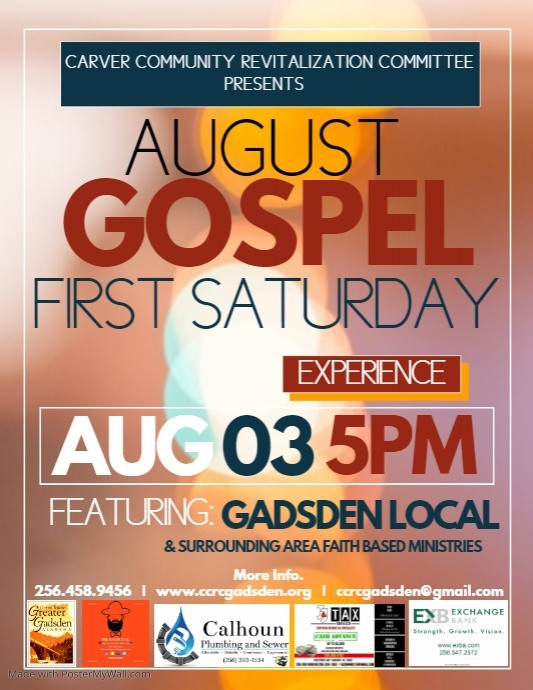 All ministries in the metro Gadsden and surrounding areas are welcome. School age children and all Gadsden teachers to participate in First Saturday Back To School Bash.