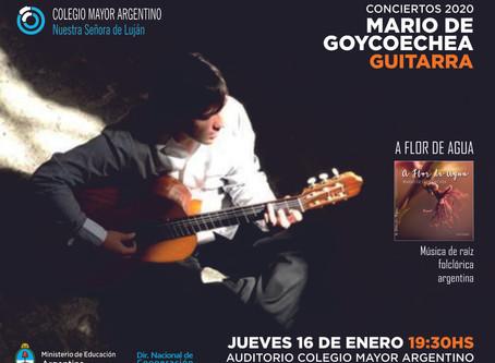 """Conciertos 2020 –  Mario de Goycoechea,""""A flor de agua"""""""
