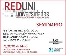"""Seminario Internacional del """"Sistema de medición de la descentralización municipal en Iberoamérica c"""