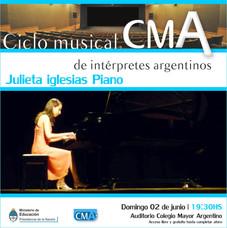 1º Ciclo Musical de Intérpretes Argentinos – Julieta Iglesias, Piano