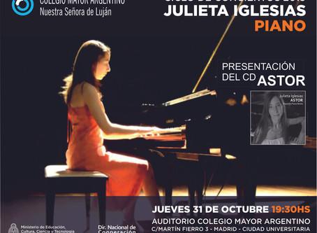 Conciertos 2019 –  Julieta Iglesias –  Homenaje a Piazzolla