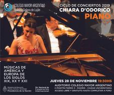 """Conciertos 2019 –  Chiara D'Odorico """"Músicas de América y Europa"""""""