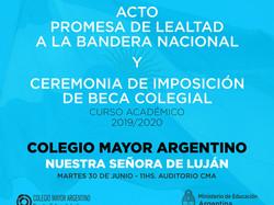 Acto de Promesa de Lealtad a la Bandera Nacional - Ceremonia de Imposición de Becas Colegiales