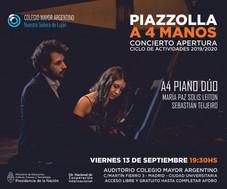 Concierto apertura ciclo de actividades 2019/2020. A4 Piano Dúo, música de Astor Piazzolla