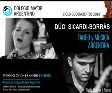 """Ciclo de conciertos 2018/Dúo Sicardi-Borrás """"Tango y Música Argentina"""""""