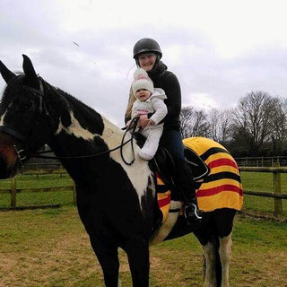 Baby Aoife and Mummy on Yazzii's horsey, Rupert