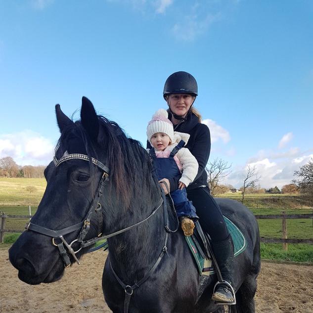 Aoife & Mummy riding Argy Pony