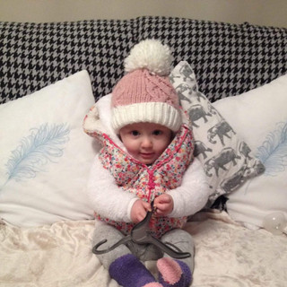 Baby Aoife wrapped up for a winter's day