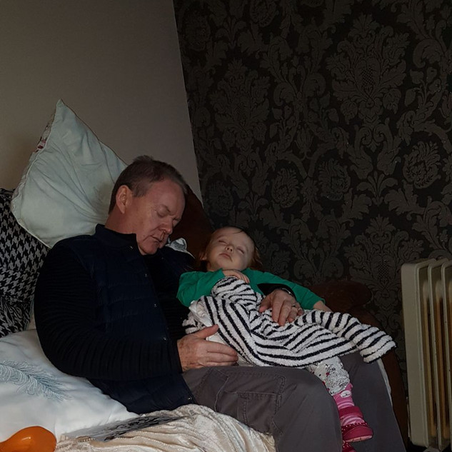 Aoife & Grandad Pat asleep