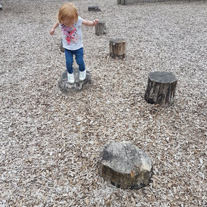 Aoife on the stepping stones