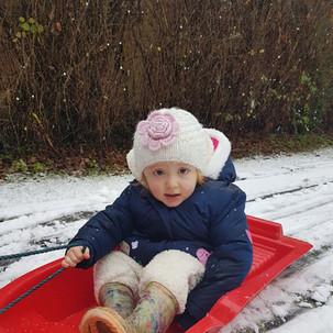 Aoife on her sledge