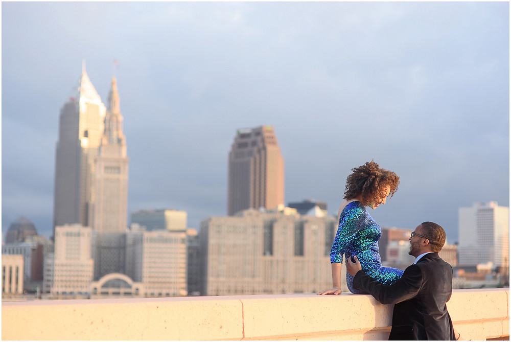 Cleveland Skyline Engagement Carnegie Bridge