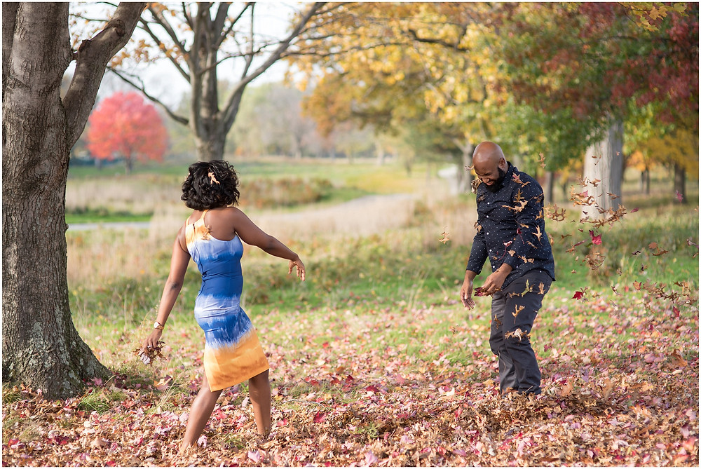 Cleveland Fall Engagement Session Leaves