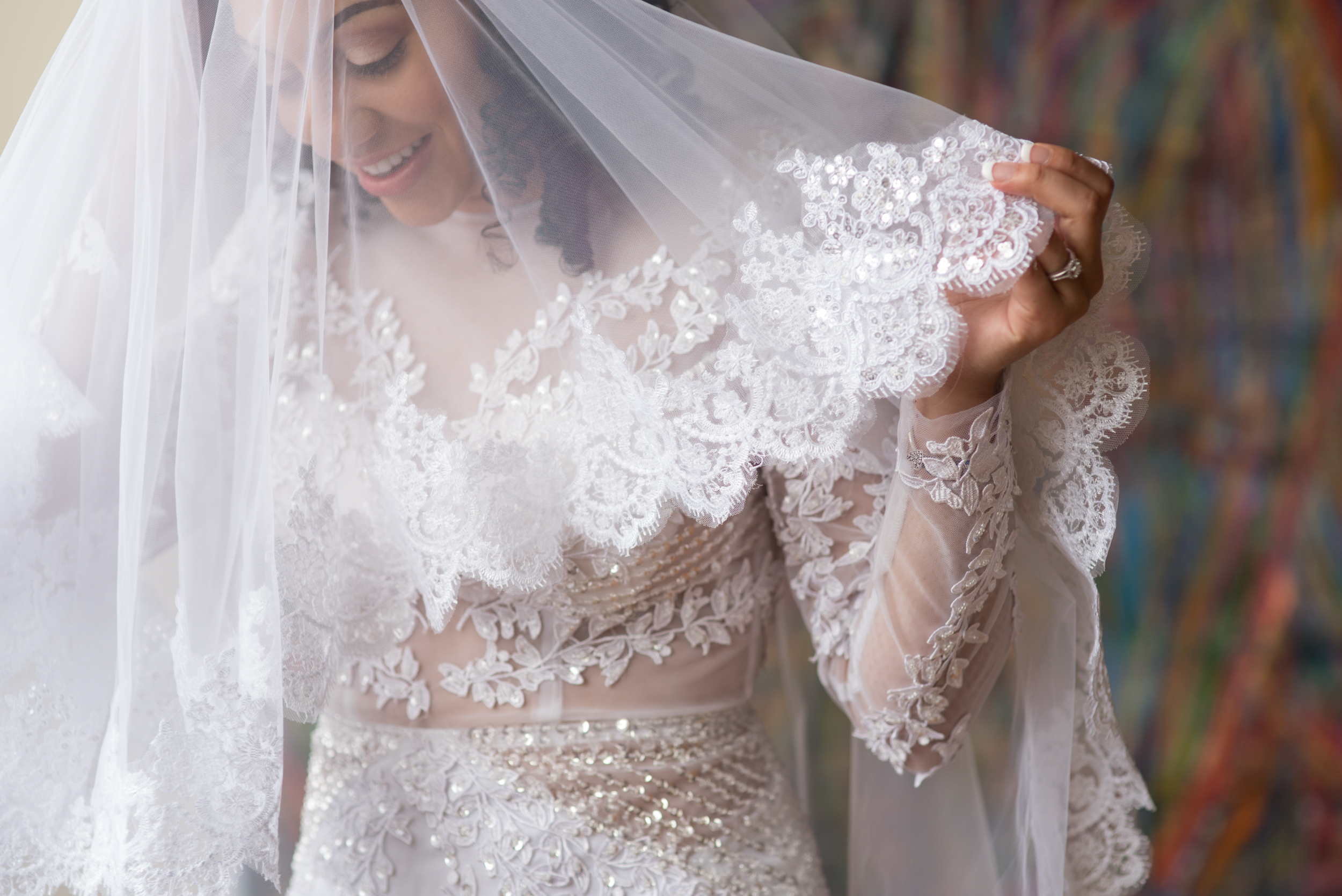 Cleveland wedding bride with veil