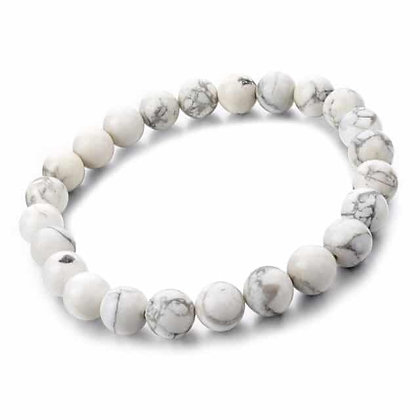 Bracelet Howlite - pierres fines 6mm