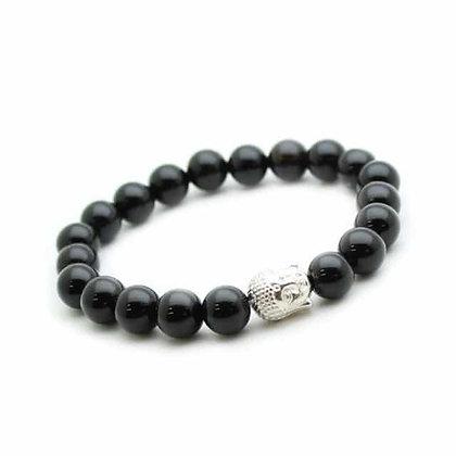 Bracelet Onyx et bouddha- pierres fines 8mm